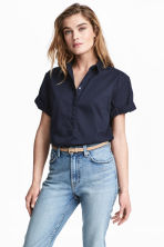 Short-sleeved cotton shirt - Dark blue - Ladies | H&M IE 1