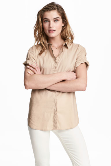 Short-sleeved cotton shirt - Light beige - Ladies | H&M 1