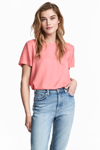 Short-sleeved blouse - Pink - Ladies | H&M CN 1