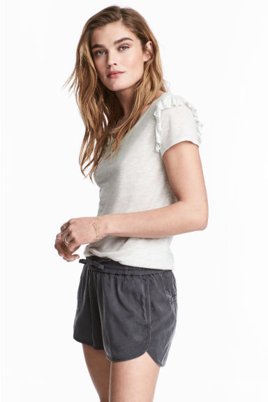 Lyocell shorts - Dark grey -  | H&M IE