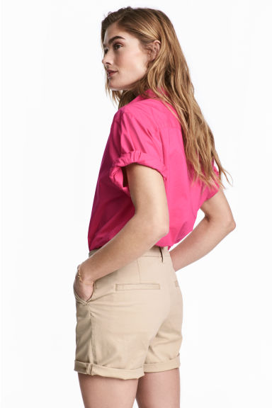 Short-sleeved cotton shirt - Cerise - Ladies | H&M CN 1