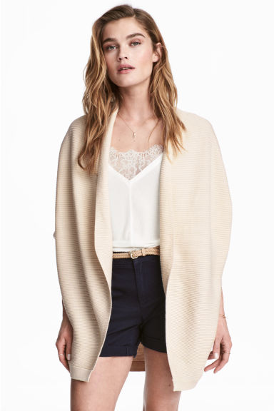 Rib-knit cardigan - Light beige - Ladies | H&M CN 1