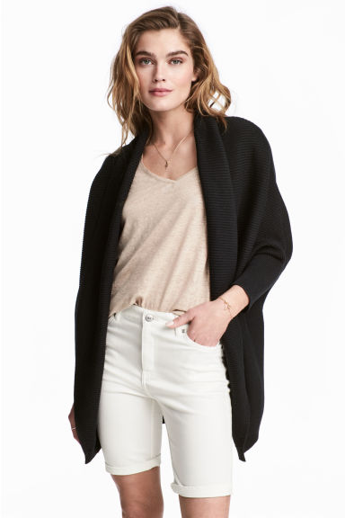 Rib-knit cardigan - Black - Ladies | H&M CN 1