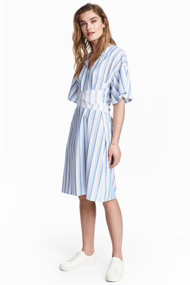V-neck dress - White/Blue striped -  | H&M