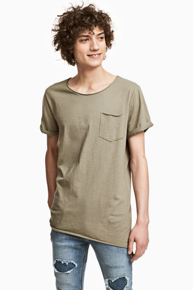 Long T-shirt - Khaki green - Men | H&M