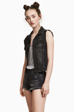 Denim gilet - Black washed out - Ladies | H&M CN 1