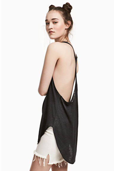 Slub jersey vest top - Black - Ladies | H&M 1