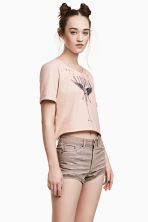 Cropped wide printed T-shirt - Beige/Nirvana - Ladies | H&M CN 1