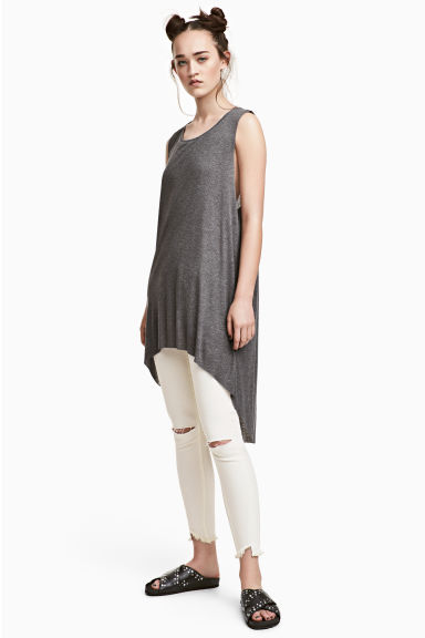 Long ribbed vest top - Dark grey marl -  | H&M CN 1