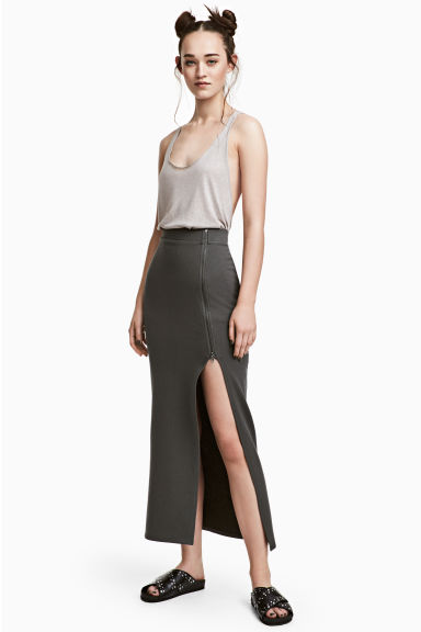 Gonna lunga in felpa - Grigio scuro - DONNA | H&M IT