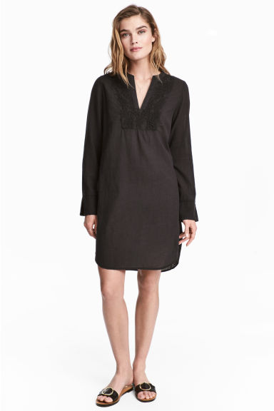 Embroidered cotton tunic - Black -  | H&M