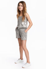 Fine-knit playsuit - Grey marl -  | H&M 1