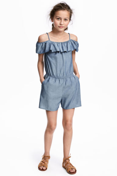 Off-the-shoulder playsuit - Blue - Kids | H&M 1