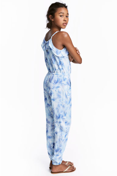 Patterned jumpsuit - White/Leaf -  | H&M 1