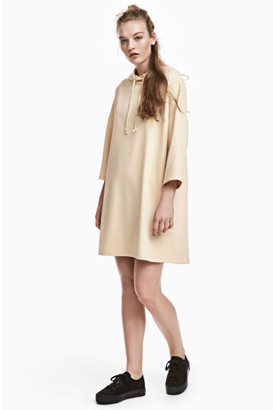 Hooded sweatshirt dress - Light beige - Ladies | H&M
