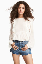 Denim scallop-hem shorts - null -  | H&M CN 1