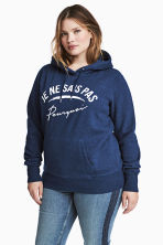 H&M+ Printed hooded top - Dark blue marl - Ladies | H&M 1