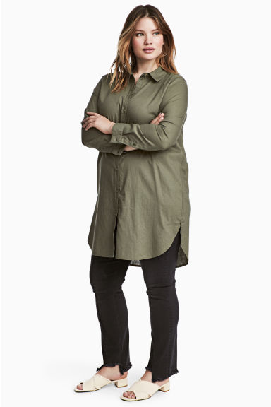 H&M+ Linen-blend shirt - Khaki green - Ladies | H&M 1