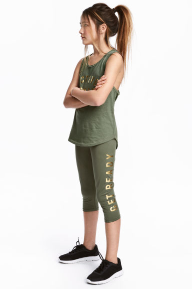 3/4-length sports tights - Khaki green - Kids | H&M CA 1