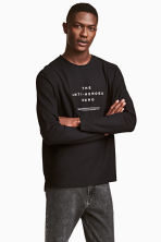 Long-sleeved T-shirt - Black - Men | H&M 1