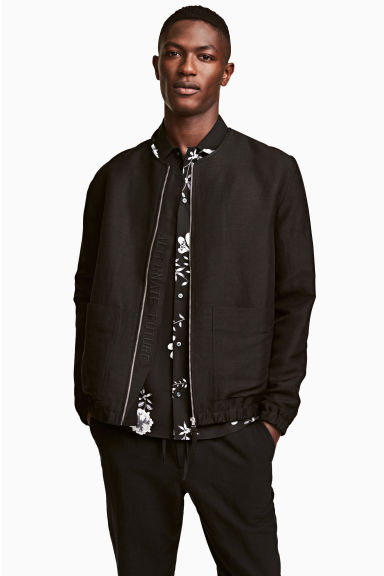 Linen-blend bomber jacket - Black - Men | H&M CN 1