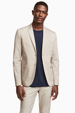 Cotton-blend jacket Slim fit - Light beige - Men | H&M CN 1