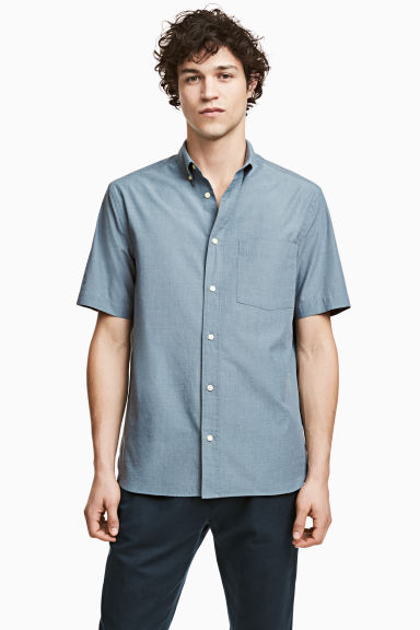 Short-sleeve shirt Regular fit - Grey-blue - Men | H&M 1