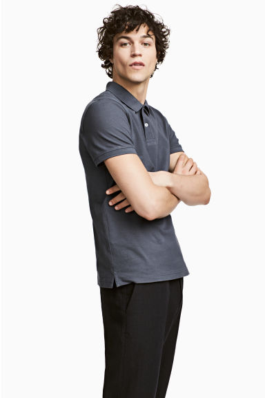 Polo shirt - Dark grey-blue - Men | H&M 1