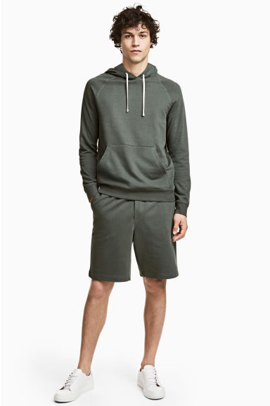 Knee-length sweatshirt shorts - Grey green -  | H&M