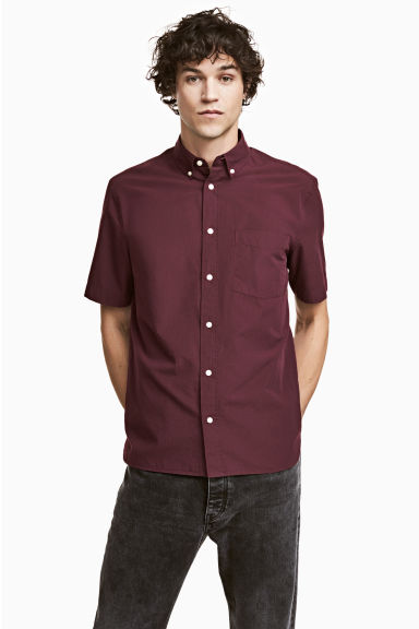 Short-sleeve shirt Regular fit - Burgundy - Men | H&M 1