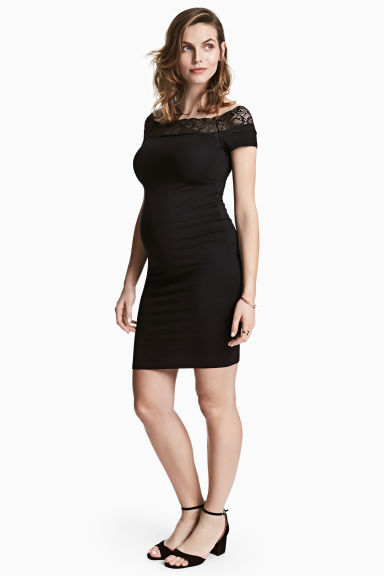 MAMA Off-the-shoulder dress - Black -  | H&M 1