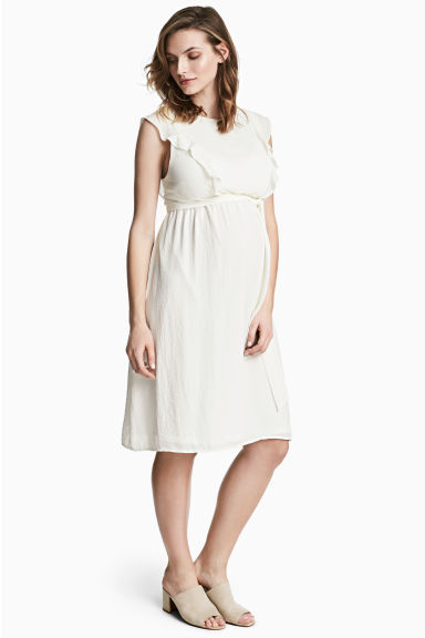 MAMA Frilled-sleeve dress - Natural white - Ladies | H&M CN 1