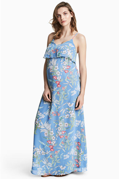 MAMA Chiffon dress - Blue/Floral - Ladies | H&M