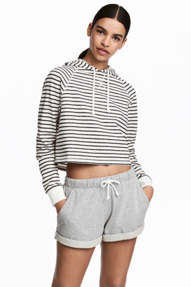 短版連帽上衣 - White/Black striped - Ladies | H&M 1