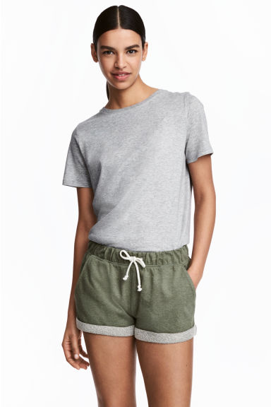 Sweatshirt shorts - Khaki green marl - Ladies | H&M GB