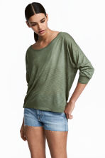 平紋上衣 - Khaki green marl - Ladies | H&M 1