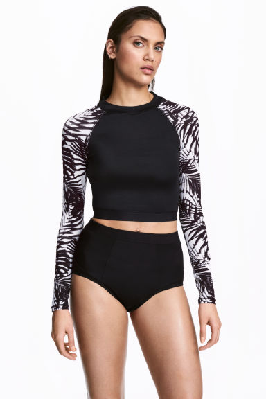 Long-sleeved swim top - Black/White/Patterned - Ladies | H&M 1