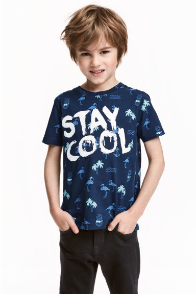 Printed T-shirt - Dark blue/Flamingo - Kids | H&M 1