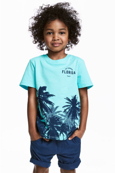 Printed T-shirt - Light turquoise/Palms - Kids | H&M 1