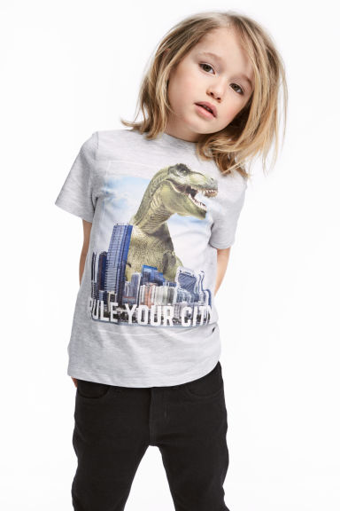 Printed T-shirt - Light grey/Jurassic World - Kids | H&M CN 1