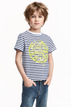 Printed T-shirt - White/Dark blue/Striped -  | H&M CN 1