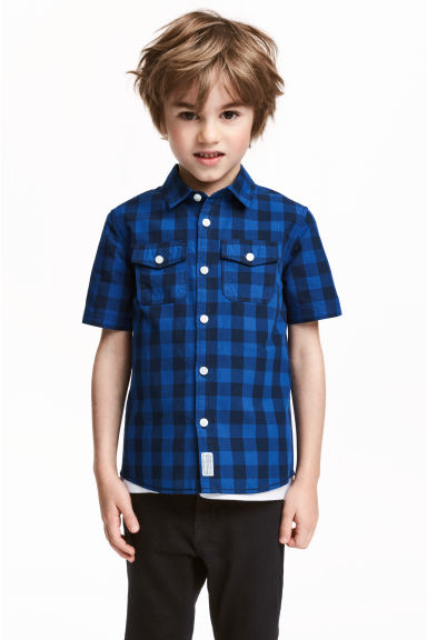棉質短袖襯衫 - Cornflower blue/Checked -  | H&M 1