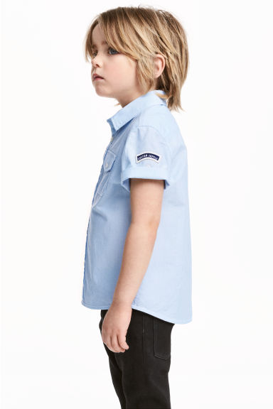Short-sleeved cotton shirt - Light blue/Striped -  | H&M CN 1