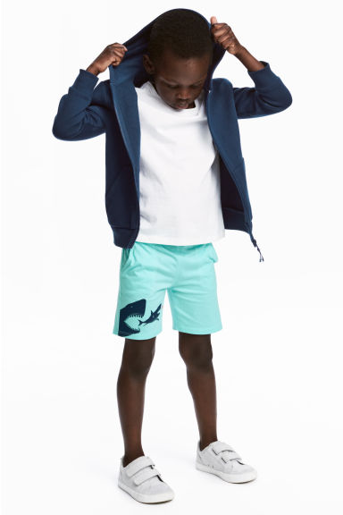 平紋短褲 - Mint green/Sharks - Kids | H&M 1