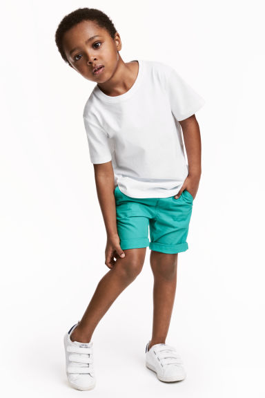 Cotton shorts - Dark mint green -  | H&M CN 1