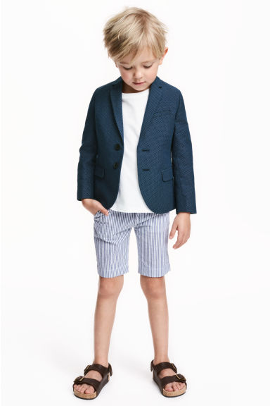 斜纹短裤 - White/Dark blue/Striped - Kids | H&M CN 1