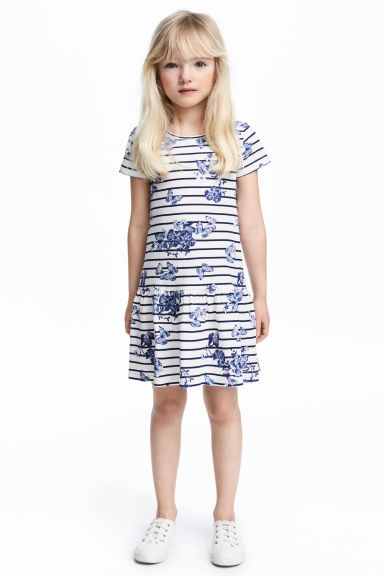 Jersey dress - White/Dark blue/Striped - Kids | H&M 1
