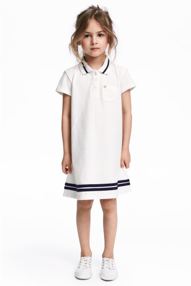 Short-sleeved piqué dress - White - Kids | H&M 1