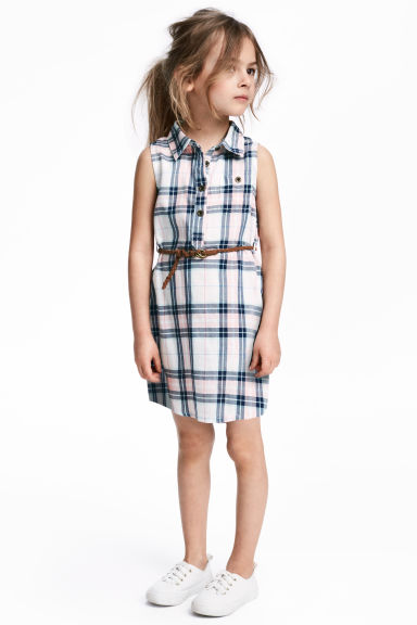 Sleeveless shirt dress - Dark blue/Checked - Kids | H&M 1