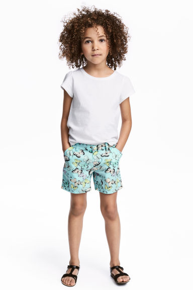 Cotton shorts - Light turquoise/Butterflies - Kids | H&M 1